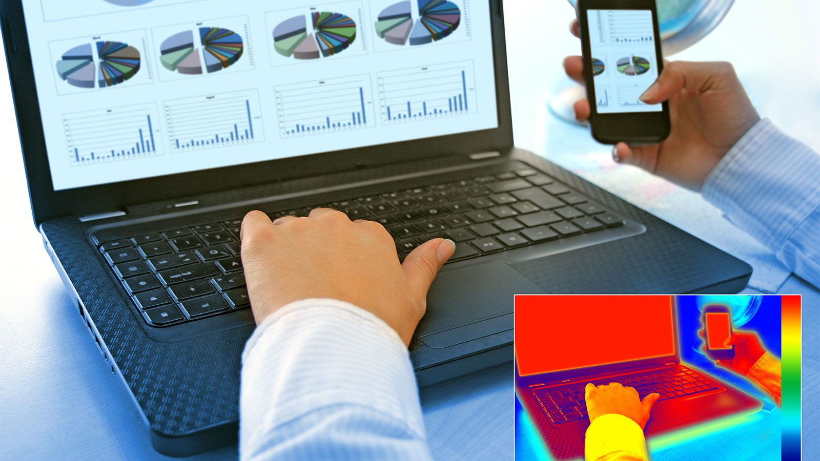 Energieffektivitet. Der går meget energi til spilde i form af for eksempel varme, når man bruger computer, smartphone, tv med mere. Foto: Colourbox.