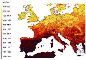 Solindstrålingen i Europa.