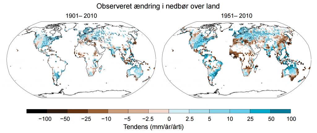 Observeret ændring i nedbør over land fra 1901 til 2010. Klik på grafikken for at få den større. Kilder: IPCC/DMI s. 6.
