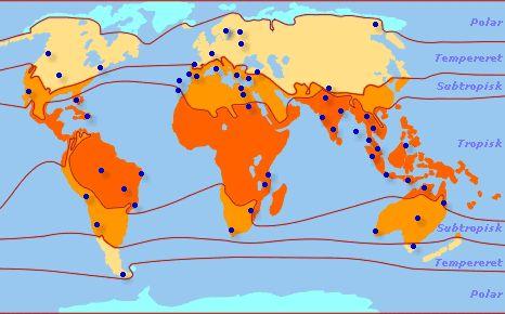 Illustrationen viser jordens inddeling i klimazoner: Polar, tempereret, subtropisk og tropisk.