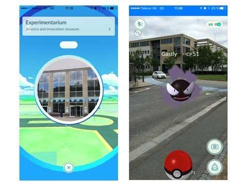 Det myldrer med Pokémons ved Experimentariums Pokéstop i Hellerup.