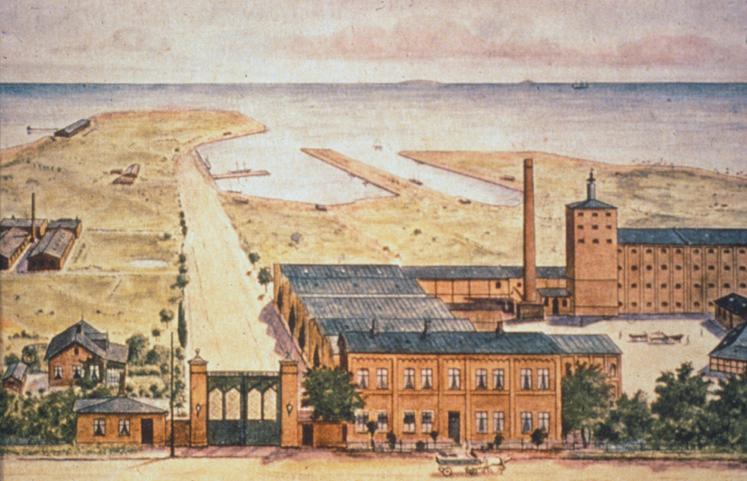 Det oprindelige bryggeri i Tuborg Havn. Billedet viser Tuborgs Fabrikker set fra Strandvejen i 1878-1880. Tappehallen, hvor Experimentarium i dag ligger, er endnu ikke anlagt. Den kom til nogle år senere nede ad vejen til venstre.